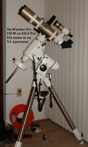 A Perfectly Diabolical Telescopic Combination:  SkyWatcher Pro ED-80 and SkyWatcher EQ-6 Pro Mount