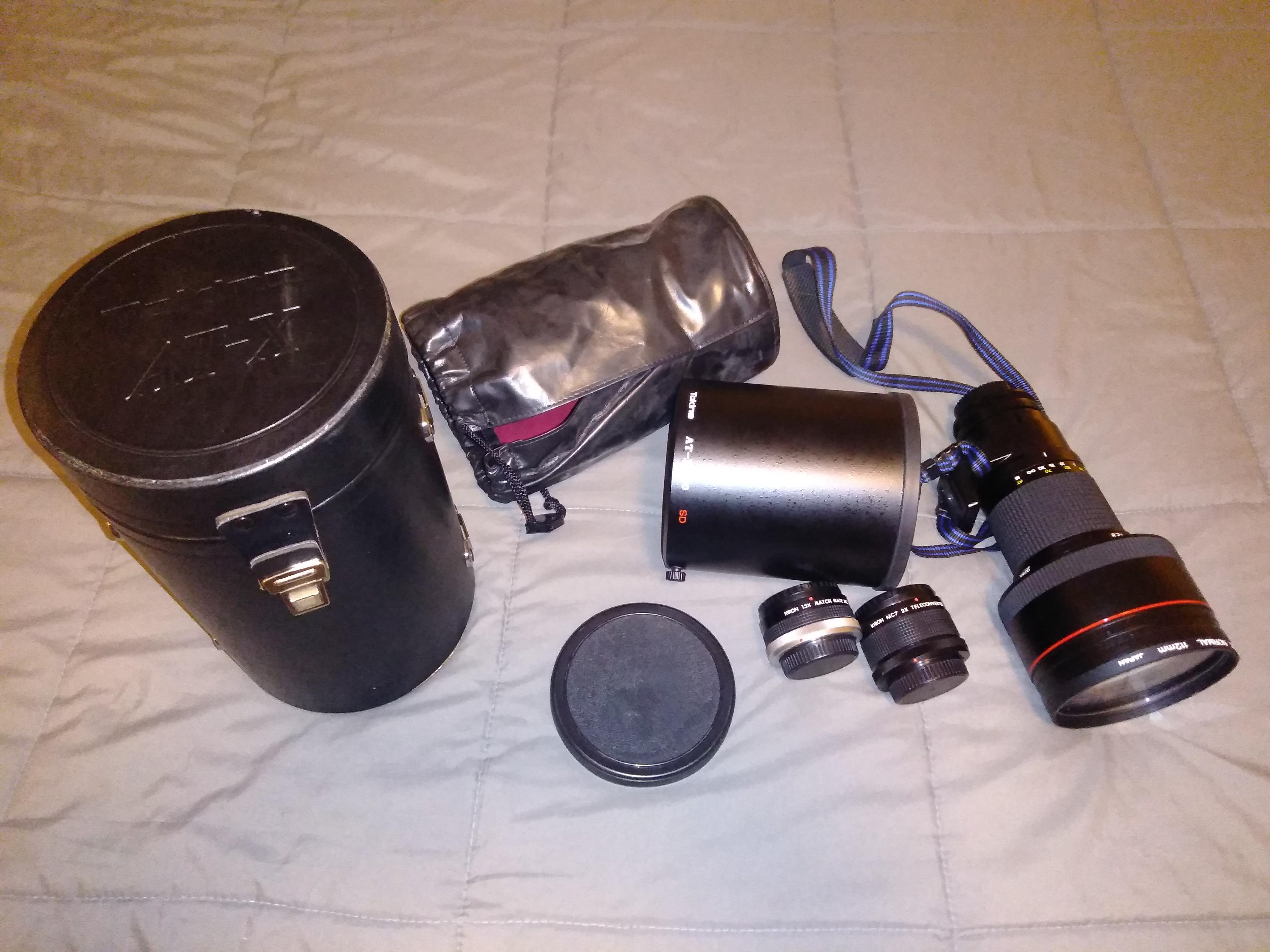 Tokina AT-X SD 300mm f/2 8 MF Lens w/2 teleconverters - FD mount